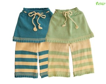 Pants - 1 - 24 months - 100% merino wool baby girl skirt longies pants hand made knit knitted