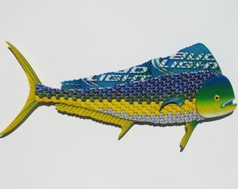 Bottle Cap Fish Metal Wall Art - Mahi Mahi (Dolphin) Sculpture