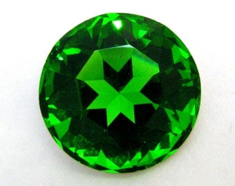 FERN - Large Green Round Chaton Rose Cut Shape Crystal - 28mm Jewelry Supplies