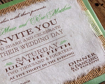 NEW- D-I-Y Modern Type Playbill Wedding Invitation With Celery Chevron Ribbon- Rustic Burlap Wedding Invitation