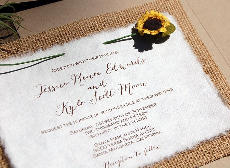 Do It Yourself Wedding Invitations: Do It Yourself Burlap Sunflower Rustic Wedding Invitation
