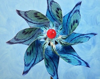 Blue Spotted Butterfly Pinwheel Spinner Whirligig Windmill