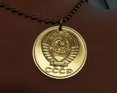 SOVIET UNION necklace . jewelry pendant. cccp charm. russian necklace. hammer sickle.  russia..number 5 .  No.001955