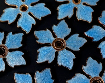 1 GUILLOCHE ENAMEL COPPER blank stampings blue flower for your assemblage recycle reuse  No.00841