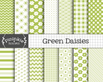 Green Digital Paper, Spring Scrapbooking Paper, Digital Daisies, Floral Paper, Commercial Use, Instant Download