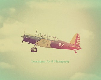 Antique Airplane, Aviation Photography, Fine Art Prints, Vintage Aircraft, Retro Nursery Decor, Clouds, Sky, Plane, Pilot, Flying