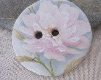 Pastel Rose Flower Motif Ceramic Button