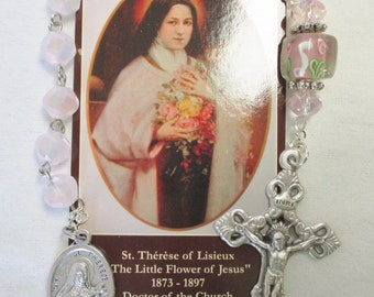 Handmade Catholic Tenner Single Decade Rosary, St. Therese, Soft Pink Opaque Helix Crystal Beads, Floral Pater