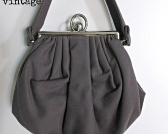 Vintage 40s  Ingber and Co.  Grey Wool Bag with  Modern Silver Clasp