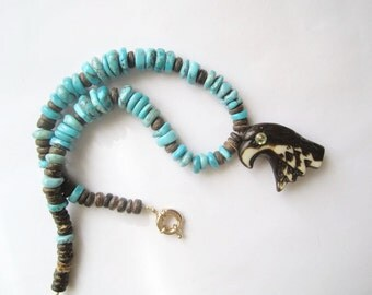 Rustic Arizona Turquoise Necklace ./. Natural Arizona Turquoises ./. Collier Turqoise ./.  Turquoise Pendant Necklace ./. Eagle Pendant