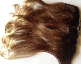 18 inch 100% Human Hair Ombre Hair Extensions Brown Blonde Dip Dye Fade Clip in or Tape Style