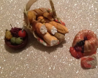 miniature realistic food for  1/12th scale dolls basket of bread selection