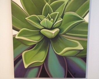 Succulent painting. Original Oil by Carin Vaughn