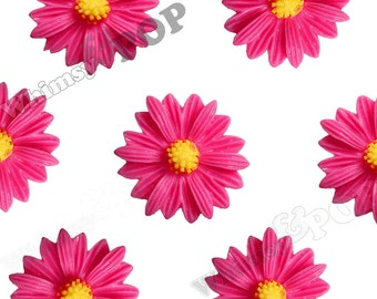 10 - Hot Pink Gerber Daisy Sunflower Resin Cabochons, Daisy Cabochon,  22mm x 7mm (R6-005)