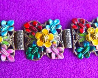 Antique Czech Enamel Colorful Flower Repousse Metal Work Victorian Bookchain Link Bracelet
