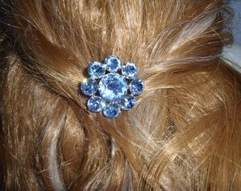 Authentic Vintage Blue Rhinestone Hair Comb