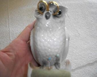 Vintage Owl Pincushion with Scissors
