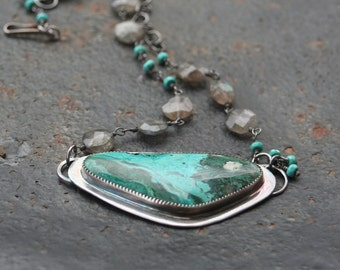 Chrysocolla Oxidized Sterling Silver Pendant Labradorite Turquoise Chain Necklace