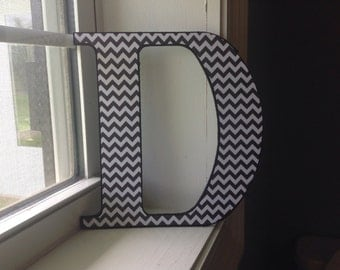 "Black and White Chevron ""D"" wall  letter/ initial/monogram"