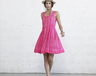Pink Sundress, Pleated Pink Midi Dress.