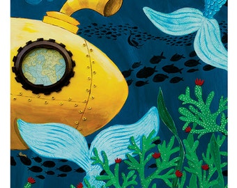 Large Print - whimsical yellow submarine mermaid underwater kids room - by Paper Taxi