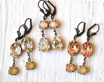Beige Opal Peach Silver Moonlight Rhinestone Earrings Vintage Swarovski Sand Opal Silver Diamond Peachy Oval Earrings Sweeties Dangle