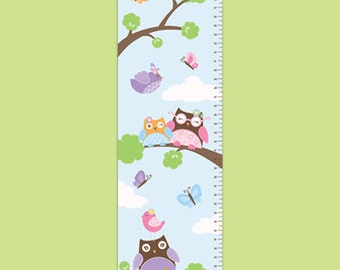 Personalized Owl Growth Chart - Hoot Hoot - Girl