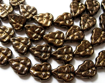 Czech Glass Beads Pressed Glass Leaves Bronze 10mm 14 pieces