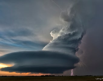 Fine art print of the most amazing supercell thunderstorm with lightning in Arcadia Nebraska. This prints amazing!!