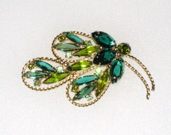 """Leaf Shaped Brooch / Teal and Green Prong Set Stones / Open Backs / 2.5"""" X 1.5"""" / FREE US Shipping"""