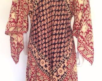 70s India Batik Mixed Print Maxi