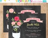 CHALKBOARD JAR and ROSES bridal shower invitation - You Print