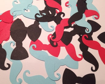 MUSTACHE and BOWTIES confetti - in black blue and red - 100 pieces - other colours available