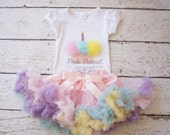 First birthday outfit- Birthday outfit - Tutu birthday - Cupcake birthday outfit - Girls first birthday outfit- Pettiskirt - Smash the cake