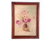 RESERVED for Kelly  Vintage still life oil painting of vase with pink flowers