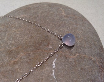 Powderpuff - sparkling simple blue chalcedony silver necklace