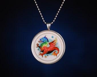 """Mythical Creatures """"Griffin"""" Pendant - cloisonne enamel pendant"""