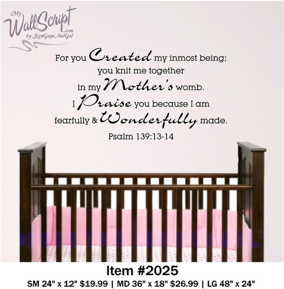 Nursery Bible Verse Wall Decal, Psalm 139:13-14, Baby or Child Room Wall Graphic, Sunday School Wall Art