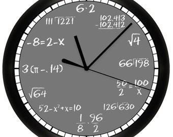 """Math Chalkboard Wall Clock Mathematics Teacher 10"""" Diameter"""
