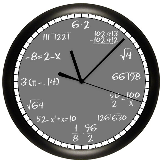 "Math Chalkboard Wall Clock Mathematics Teacher 10"" Diameter"