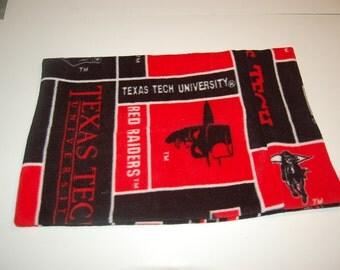 Handmade Travel Pillow Pillowcase Texas Tech Fleece