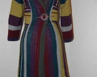 Crochet Coat in Multicolor Merino Wool & Bamboo size Small/Medium