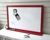 Dry Erase Whiteboard Magnet Board - Furniture Grade Solid Wood Frame and Shelf Message Center 26.5 x 28.5 Bulletin Board for Keys Pen