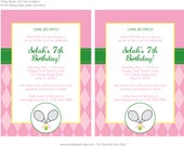 Girl Tennis Birthday Party in pink and green argyle print- printable 5x7 inch invitation - Customized with your details- print your own