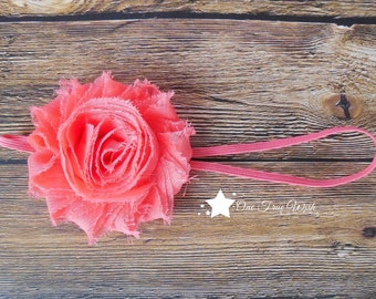 Coral shabby flower elastic headband, frayed flower, baby headband, infant headband, newborn headband, girl hair clip, photo prop, baby gift