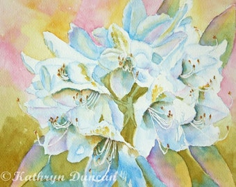 Rhododendrons Original Watercolor Painting, White flowers, Blue, Rose, Green, Yellow, matted to 11x14,