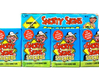 4 Snotty Signs Sticker Packs by Topps 1986