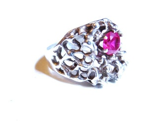 Vintage Sterling Silver Ring, Brutalist Jewelry, Ruby Red Stone, Gemstone Rings, 1970s Statement Ring Size 10