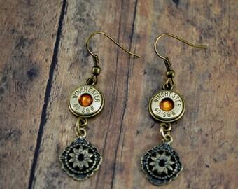 Bullet Earrings ~ Bullet Jewelry ~ Winchester 40 Caliber Bullet Dangle Earrings ~ Topaz Gemstone ~ Police Jewelry