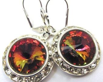 Mega Bling Earrings of Orange Marea Preciosa Crystals, Statement Earrings